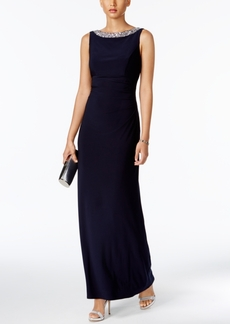Alex Evenings Embellished Cowl-Back Gown