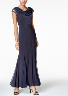 Alex Evenings Embellished Cowl-Neck Gown