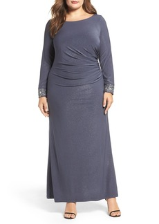 Alex Evenings Embellished Cuff Shimmer Gown (Plus Size)