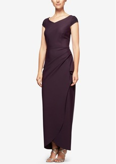 Alex Evenings Embellished Draped Column Gown