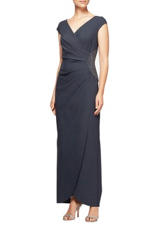 Alex Evenings Embellished Faux Wrap Column Gown