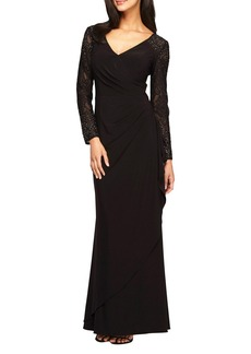 Alex Evenings Embellished Faux Wrap Gown (Regular & Petite)
