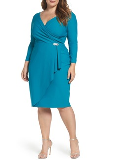 Alex Evenings Embellished Faux Wrap Sheath Dress (Plus Size)