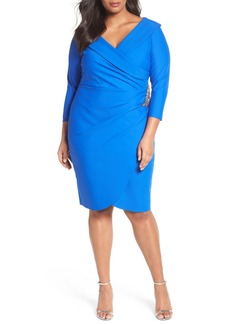 Alex Evenings Embellished Faux Wrap Sheath Dress (Plus Size)
