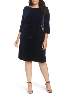 Alex Evenings Embellished Faux Wrap Velvet Dress (Plus Size)