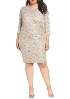 Alex Evenings Embellished Illusion Lace Shift Dress (Plus Size)