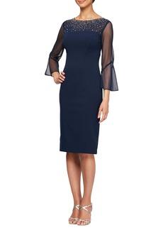 Alex Evenings Embellished Illusion Neck Sheath Dress (Regular & Petite)