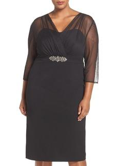Alex Evenings Embellished Illusion Overlay Sheath Dress (Plus Size)