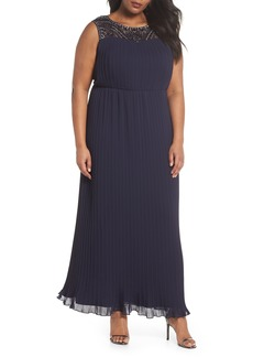 Alex Evenings Embellished Illusion Pleated Gown (Plus Size)