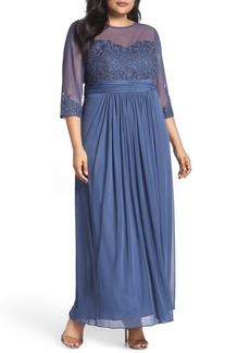 Alex Evenings Embellished Illusion Sweetheart A-Line Gown (Plus Size)
