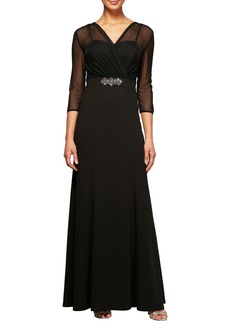 Alex Evenings Embellished Illusion Yoke Gown (Regular & Petite)