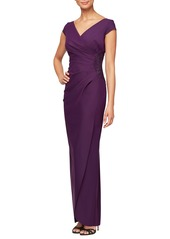 Alex Evenings Embellished Jersey Column Gown (Petite)