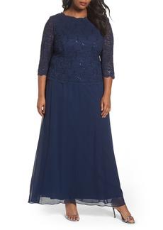 Alex Evenings Mock Two-Piece A-Line Gown (Plus Size)
