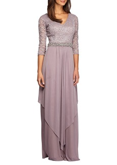 Alex Evenings Embellished Lace & Chiffon Gown (Regular & Petite)