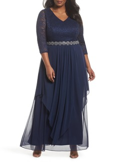 Alex Evenings Embellished Lace & Tiered Chiffon Gown (Plus Size)