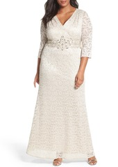 Alex Evenings Embellished Lace A-Line Gown (Plus Size)