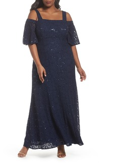 Alex Evenings Embellished Lace Cold Shoulder Gown (Plus Size)