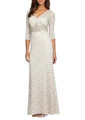 Alex Evenings Embellished Lace Column Gown