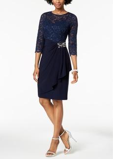 Alex Evenings Embellished Lace-Contrast Dress Regular & Petite Sizes
