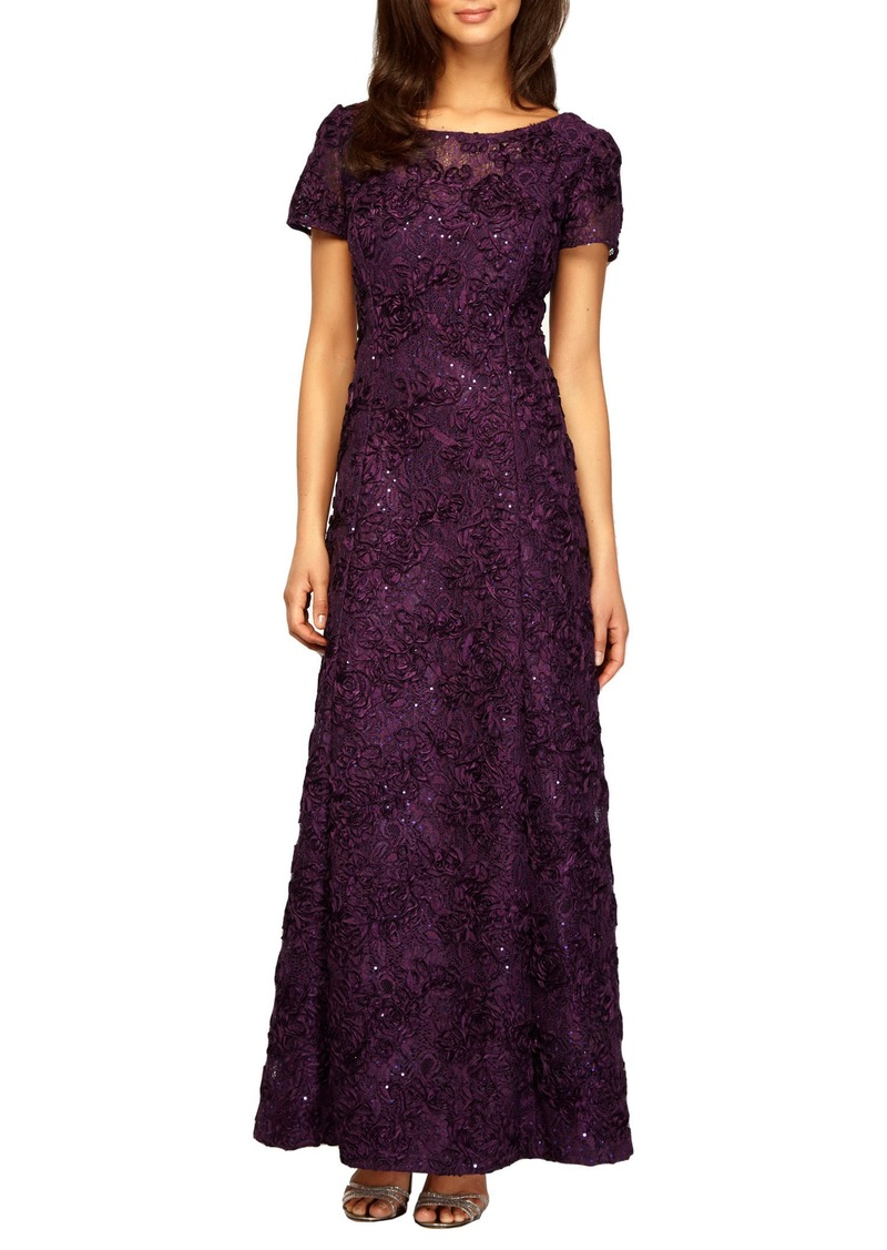 Alex Evenings Alex Evenings Embellished Lace Gown (Regular & Petite ...
