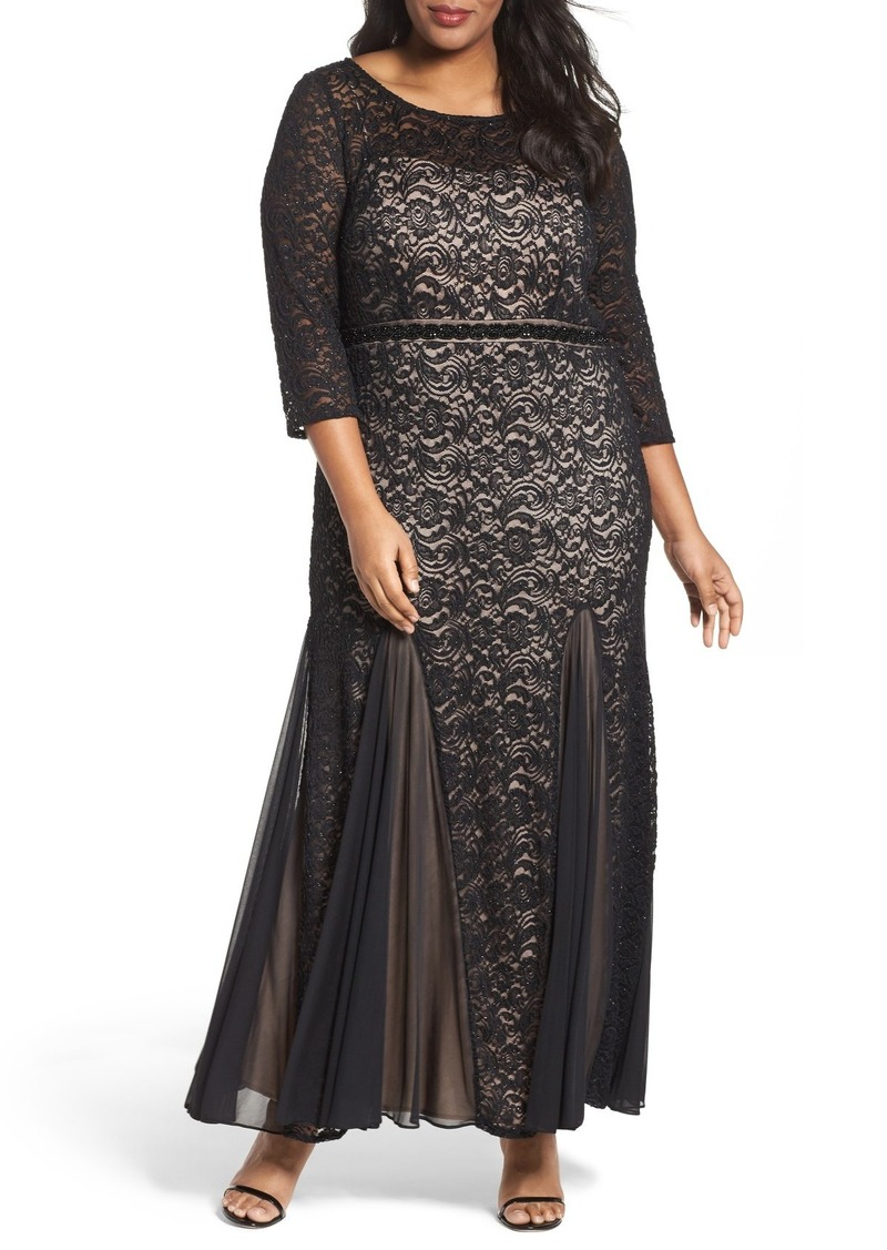 Alex Evenings Embellished Lace Mermaid Gown (Plus Size)