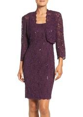 Alex Evenings Embellished Lace Sheath Dress with Jacket