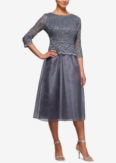 Alex Evenings Embellished Lace Tea-Length Dress