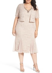 Alex Evenings Embellished Lace Tea Length Dress with Bolero Jacket (Plus Size)