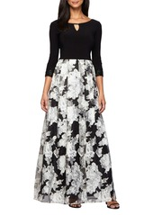 Alex Evenings Embellished Mixed Media Gown
