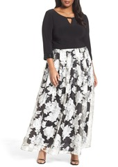 Alex Evenings Embellished Mixed Media Gown (Plus Size)