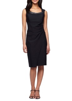 Alex Evenings Embellished Neck Ruched Sheath Dress (Regular & Petite)
