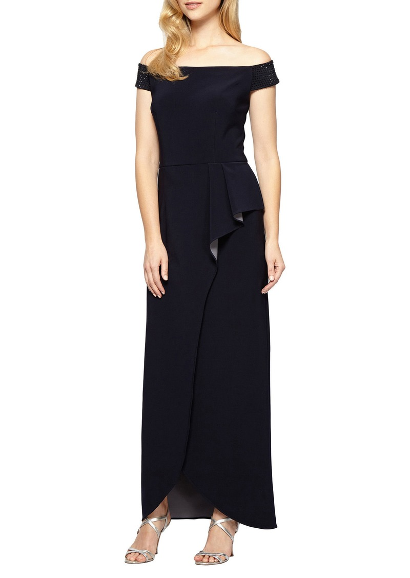 Alex Evenings Alex Evenings Embellished Off the Shoulder Gown Now ...