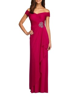 Alex Evenings Embellished Off-The-Shoulder Gown