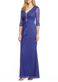 Alex Evenings Embellished Portrait Collar Gown