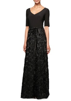 Alex Evenings Embellished Rosette A-Line Gown