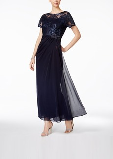 Alex Evenings Embellished Ruched A-Line Gown