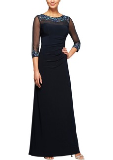 Alex Evenings Embellished Ruched Empire Waist Gown