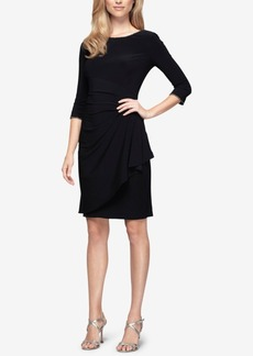 Alex Evenings Embellished Ruched Faux-Wrap Dress
