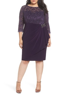Alex Evenings Embellished Ruffle Detail Shift Dress (Plus Size)