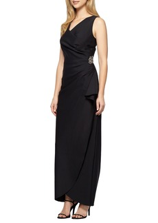 Alex Evenings Embellished Side Drape Column Gown (Regular & Petite)