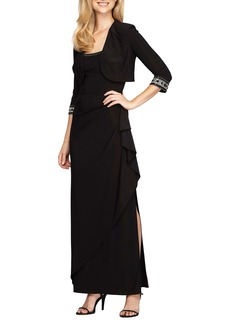Alex Evenings Embellished Side Drape Gown with Bolero