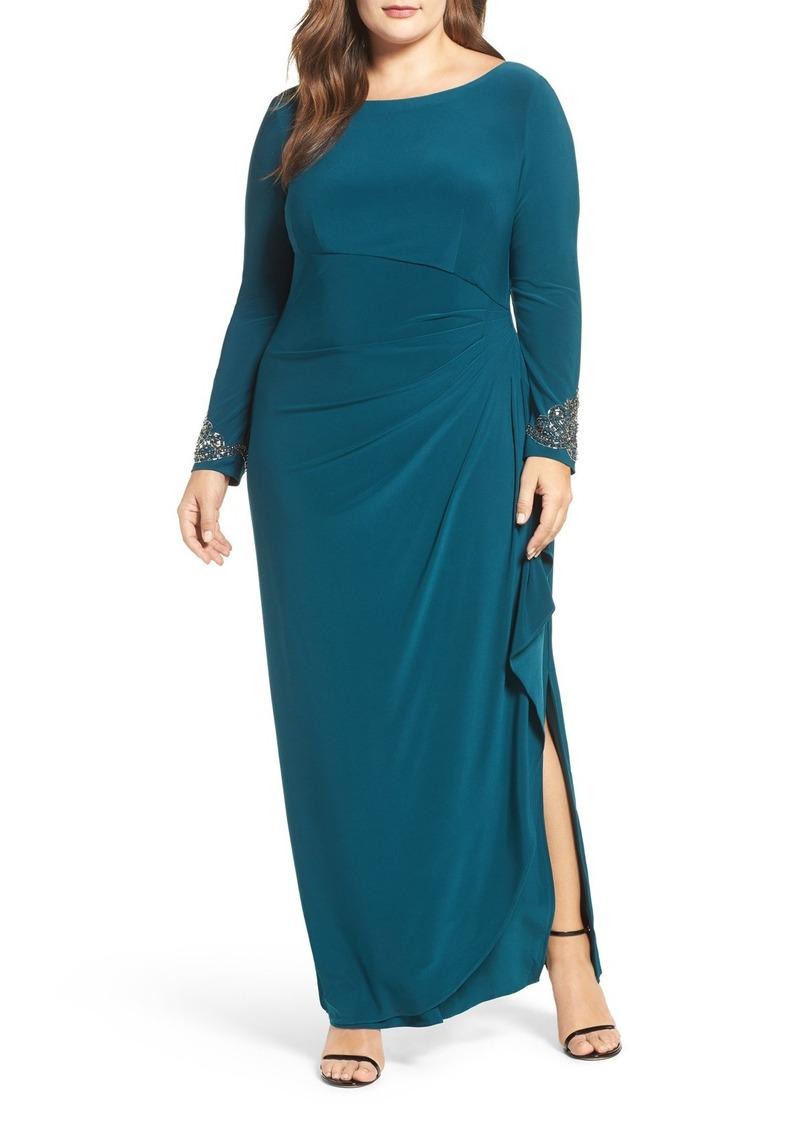 Embellished Side Pleat Column Dress (Plus Size)