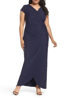 Alex Evenings Embellished Side Pleat Column Gown (Plus Size)