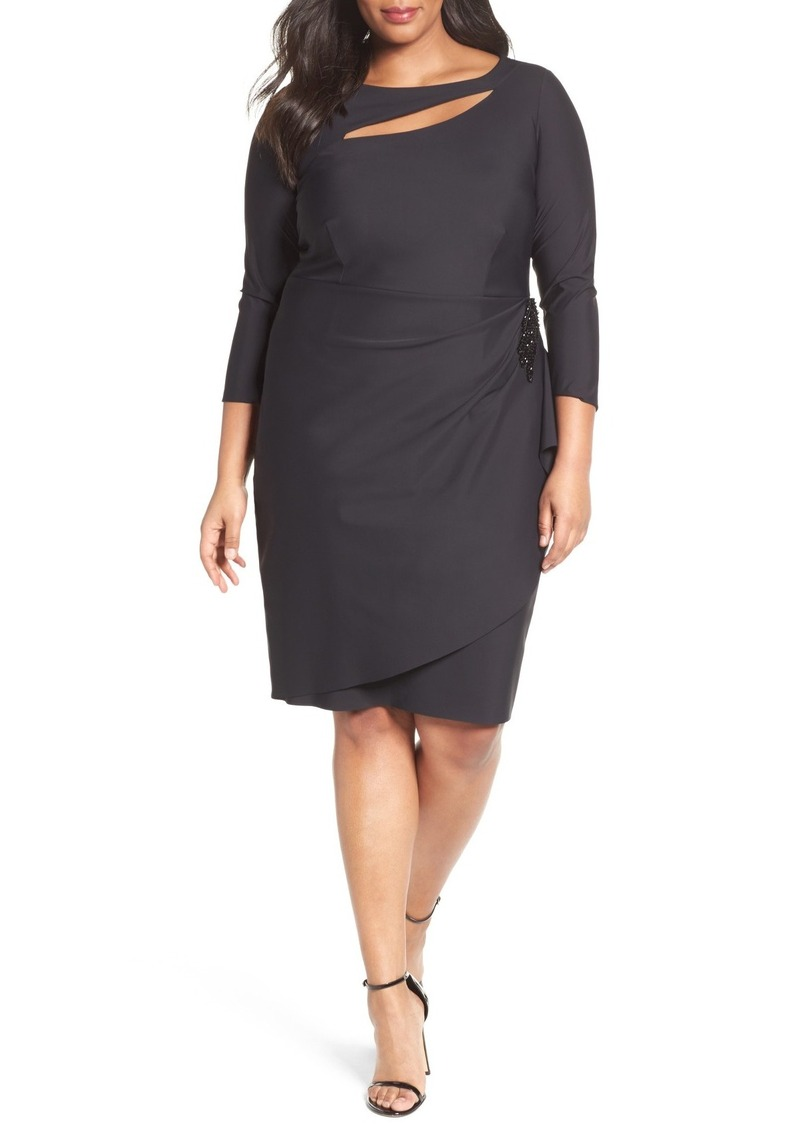 Alex Evenings Embellished Side Pleat Sheath Dress (Plus Size)