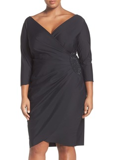 Alex Evenings Embellished Side Ruched Cocktail Dress (Plus Size)