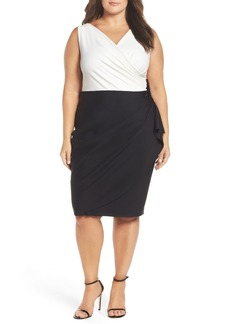 Alex Evenings Embellished Side Ruched Colorblock Sheath Dress (Plus Size)