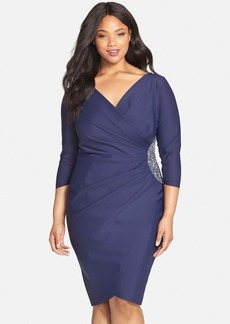 Alex Evenings Embellished Side Ruched Jersey Cocktail Sheath Dress (Plus Size)