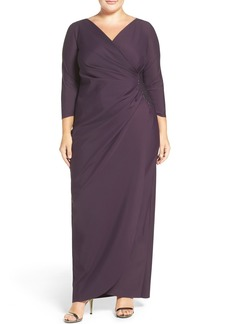 Alex Evenings Embellished Side Ruched Jersey Gown (Plus Size)