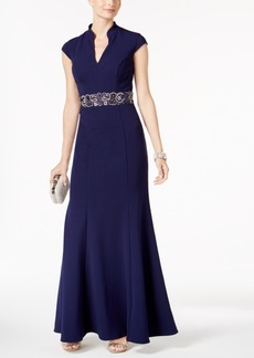 Alex Evenings Embellished Split-Neck Gown