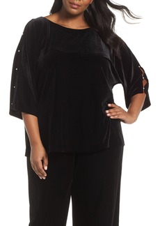 Alex Evenings Embellished Split Sleeve Velvet Tunic (Plus Size)